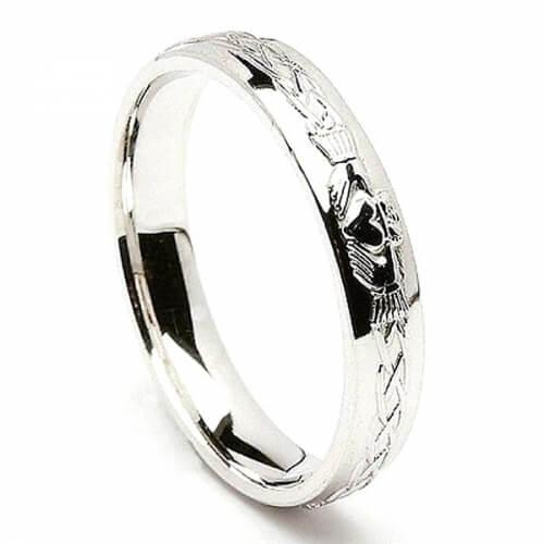 Gravierte Weißgold Claddagh Ring