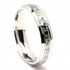 Herren Gravierte Silber Claddagh Ring