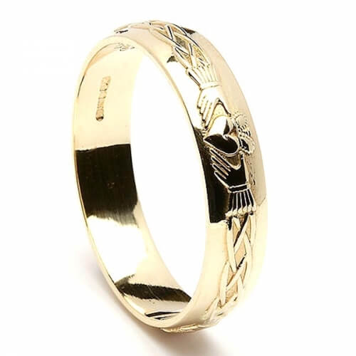 Mens Engraved Claddagh Wedding Ring