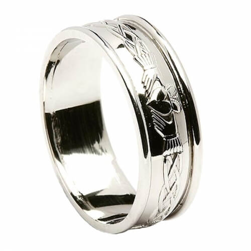 Engraved Claddagh All White Gold