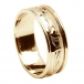 Mens Engraved Claddagh All Yellow Gold