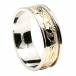 Mens Engraved Claddagh Two-Tone Band