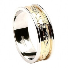 Engraved Claddagh Two-Tone Band