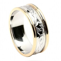 Women's Engraved Claddagh Wedding Ring with Yellow Trim