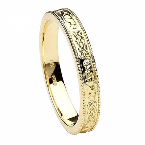 Women's Narrow Claddagh Wedding Ring - Yellow Gold