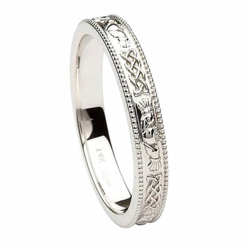 Narrow White Gold Claddagh Band