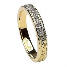 Alliance de diamants claddagh étroite - or jaune