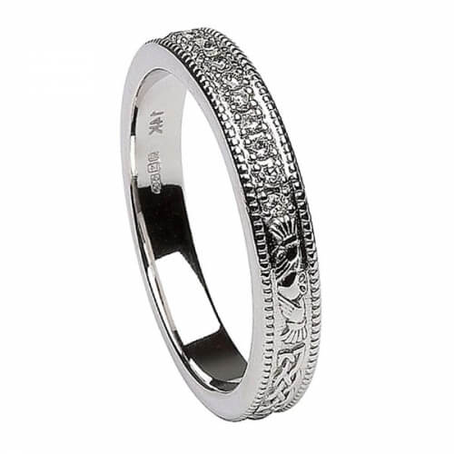 Narrow White Gold Diamond Ring