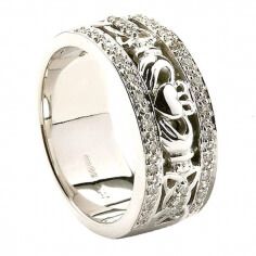 Women's Claddagh Wedding Ring with Diamond Trim - 14K White Gold