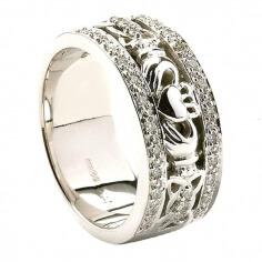 Bague de mariage claddagh pour femme avec bordure en diamant - Or blanc 14 carats