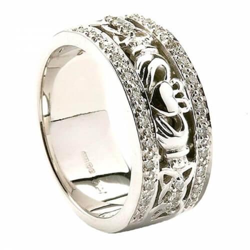 Damen Claddagh Ehering mit Diamantbesatz - 14 Karat Weißgold