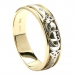 Men's Claddagh Inset Wedding Ring - Yellow and White Gold