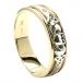 Herren Claddagh Einsatz Ehering - Gelb und Weißgold