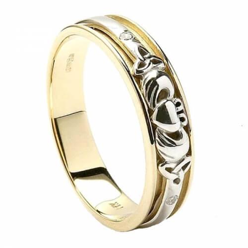 L'ensemble Claddagh de femmes dans l'anneau de mariage - or jaune et blanc