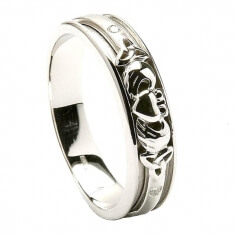 Womens Claddagh Inset White Gold