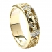 Men's Diamond Claddagh Wedding Ring - Yellow Gold
