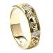 Bague de mariage diamant Claddagh pour homme - Or jaune
