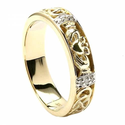 Bague de mariage diamant Claddagh pour femme - Or jaune
