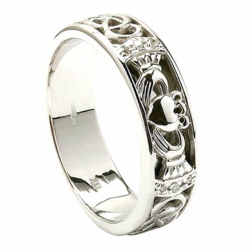 Mens Diamond Claddagh White Gold