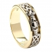 Men's Diamond Celtic Knot Claddagh Wedding Ring - Yellow and White Gold