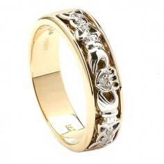 Bague de mariage Claddagh diamant noeud celtique pour femme - or jaune et blanc