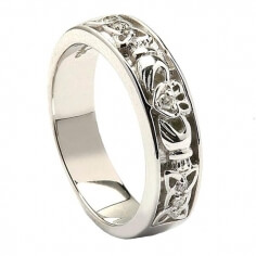 Celtic Knot White Gold Claddagh Ring