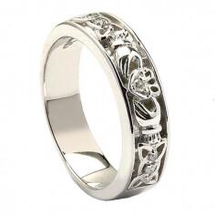 Keltischer Knoten Weißgold Claddagh Ring