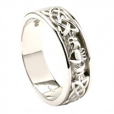 Mens Celtic Knot White Gold Claddagh