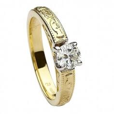 Bague de fiançailles en relief claddagh - Or jaune