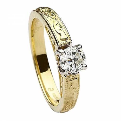 Geprägter Claddagh Verlobungsring - Gelbes Gold