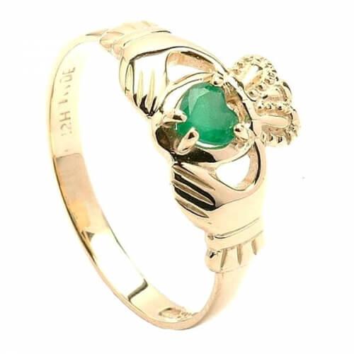 Smaragd Herz Claddagh Ring
