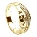 Claddagh Ring mit Diamantbesatz - Weißgold