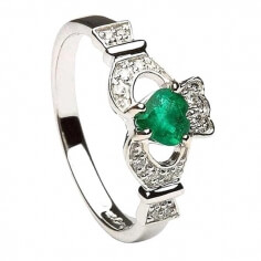 Emerald & Diamond Claddagh Ring - White Gold