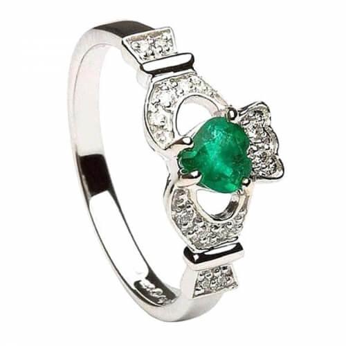 Smaragd & Diamant Claddagh Ring - Weißgold