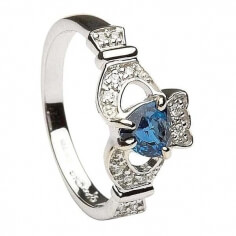 Sapphire & Diamond Claddagh Ring - White Gold