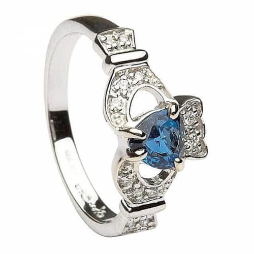 Bague en saphir et diamants Claddagh - Or blanc