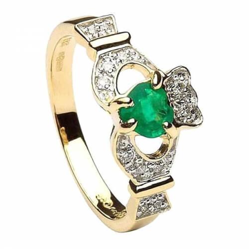 Claddagh mit Smaragd & Diamanten - Gelbes Gold