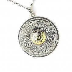 Extra Large Guerrier Celtique Pendentif 18k Perle