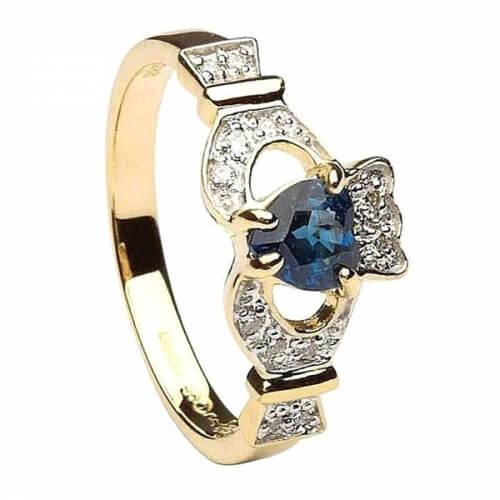 Claddagh mit Saphir und Diamanten - Gelbes Gold