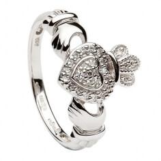 Or blanc diamant incrustées Bague Claddagh