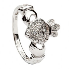 White Gold Diamond Encrusted Claddagh Ring
