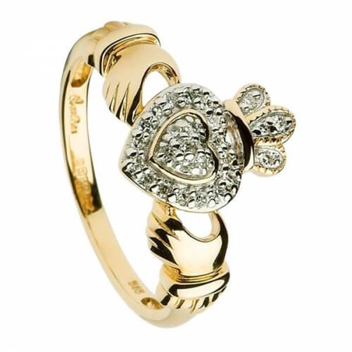 Diamant besetzte Damen Claddagh Ring