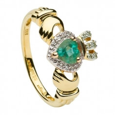 Bague Claddagh coeur émeraude avec diamants - Or jaune