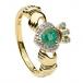 Claddagh Ring mit Smaragd - Gelbgold