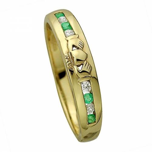 Bague d'éternité avec diamant Claddagh - Or jaune