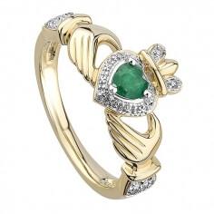 Claddagh Smaragd Verlobungsring - Gold