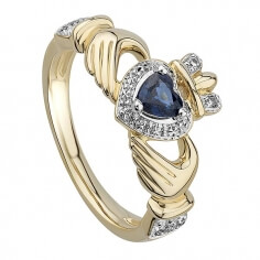 Claddagh Sapphire Engagement Ring - Gold