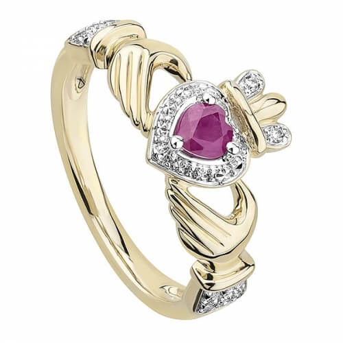 Claddagh Ruby Engagement Ring - Gold
