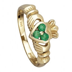 Three Emeralds Claddagh Ring - Gold