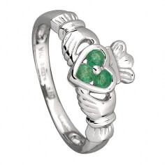 Claddagh-Ring mit drei Smaragden - Weißes Gold
